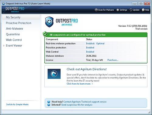 Outpost Antivirus Pro 7.5