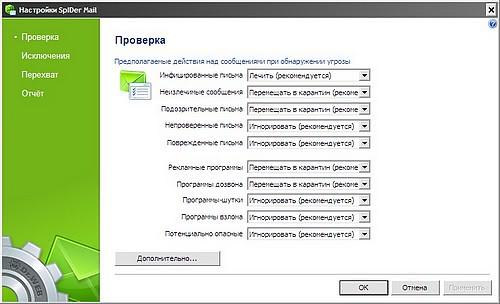 Doctor Web. Настройки SplDer mail